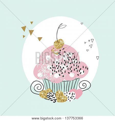 shabby chic cupcake card