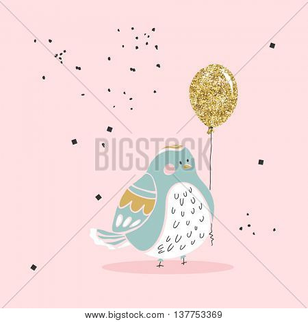 chubby bird with gold balloon