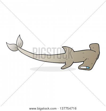 freehand drawn cartoon hammerhead shark