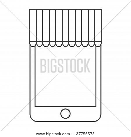 smartphone, mobile shopping buy icon isolated vector illustration