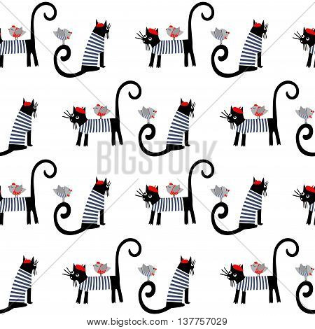 French style dressed animals seamless pattern. Cute cartoon parisian cats and birds vector illustration. Cute design for print on baby's clothes, textile, decor.