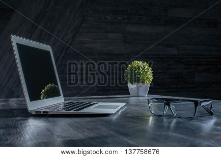 Side view of blank notebook on creative dark wooden desktop with glasses and decorative plant. Mock up