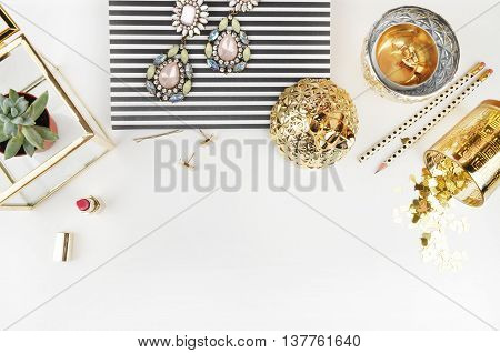 White background. Header website or Hero website, Mockup product view table gold accessories. stationery supplies. glamour style. Flat lay
