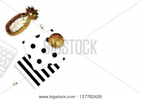 Black and White pattern, mock-up background. Keyboard with pineapple on the table. Flat lay