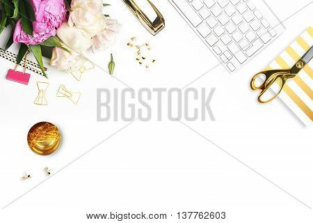 Mockup product view table gold accessories. stationery supplies. glamour style. Gold stripe.Header website or Hero website. Flat lay