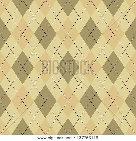 Seamless argyle pattern in dark ecru brown, soft orange & soft yellow with black stitch.