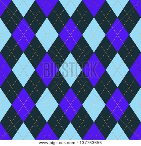 Seamless argyle pattern in dark grayish teal, soft blue & indigo purple with orange stitch.