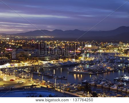 Los Cabos (Cabo San Lucas) Mexico night view of city and marina