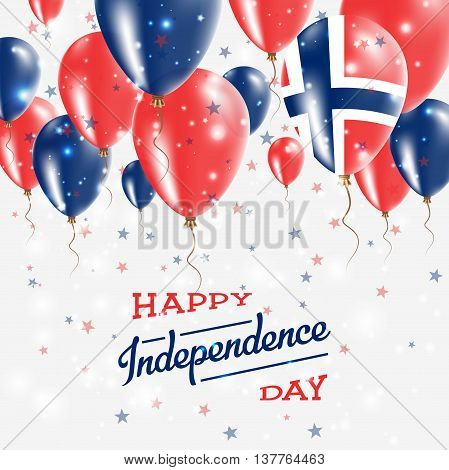 Norway Vector Patriotic Poster. Independence Day Placard With Bright Colorful Balloons Of Country Na
