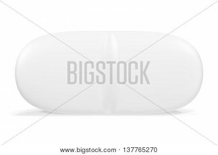 Single pills isolated on white background, 3d illustration