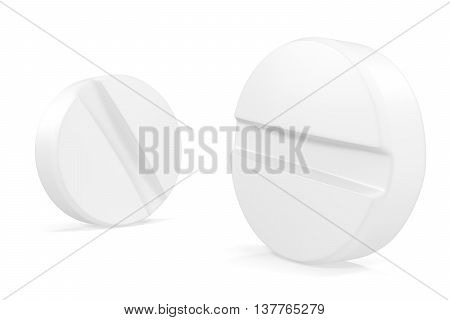 Two pills close-up isolated on white background, 3d illustration