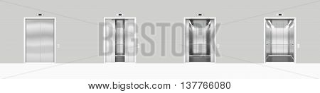 Set open and closed chrome metal office building elevator doors realistic 3d illustration