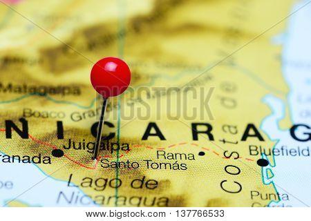 Santo Tomas pinned on a map of Nicaragua poster