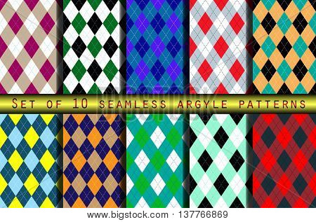Set of ten seamless argyle patterns. Classic textile design: socks, sweaters, pants, jerseys & shorts. Team uniforms for golf, basketball, football, volleyball, cycling, curling.
