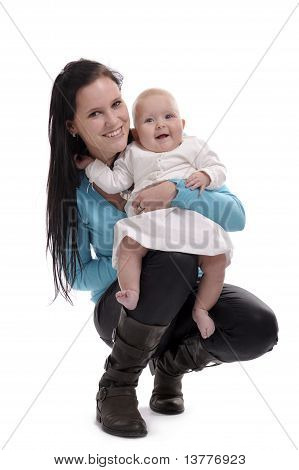 Young Woman Holding A Baby
