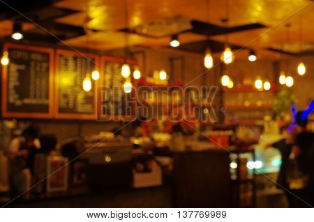 Blur light pub and bar at nigh abstract poster