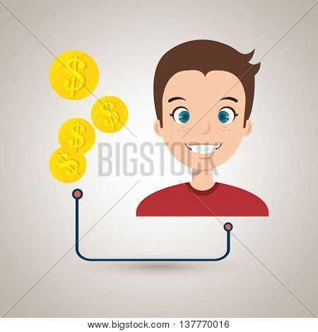 man with currency isolated icon design, vector illustration  graphic