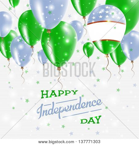 Uzbekistan Vector Patriotic Poster. Independence Day Placard With Bright Colorful Balloons Of Countr