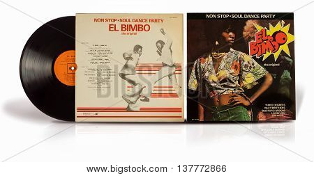 Rishon Le Zion, Israel - July 3, 2016: Old vinyl album Non Stop Soul Dance Party El Bimbo the original. Record compilation soul funk disco songs of the 70s.
