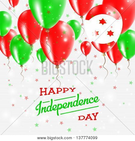 Burundi Vector Patriotic Poster. Independence Day Placard With Bright Colorful Balloons Of Country N