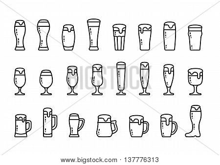 Vector icon set beer with foam in beer mugs and glasses