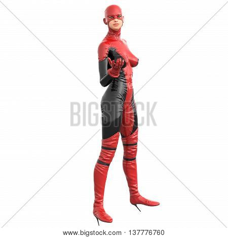 one tall woman in red black super suit. Posing standing sideways to camera with open hand. 3D rendering, 3D illustration