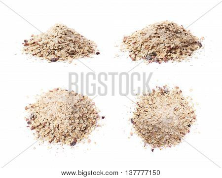 Pile of oatmeal groats porridge mixed with dried fruit pieces, composition isolated over the white background, set of four different foreshortenings poster