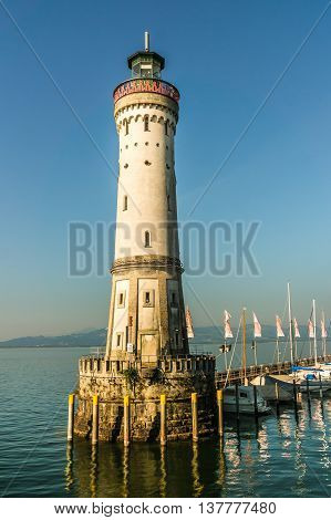Lighthouse At Morning In Harbor Of Lindau In Lake Constance