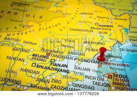 Red Thumbtack In A Map, Pushpin Pointing At Pyongyang