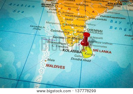 Red Thumbtack In A Map, Pushpin Pointing At Sri Lanka And Colomb