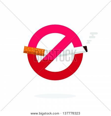 No smoking sign, dont smoke vector icon badge isolated on white background, label broken cigarette