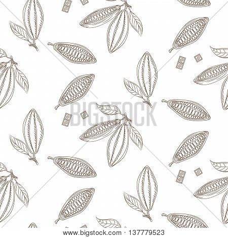 Cocoa beans outline seamless pattern. Chocolate monochrome background. Organic raw cocoa beans line pattern.