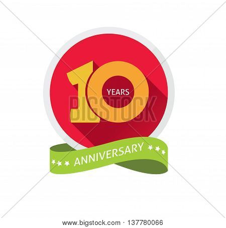 Anniversary 10th logo template with a shadow on circle and the number 1 one. 10 years anniversary icon. Ten years birthday party symbol. Tenth company. Promotion sale sticker ribbon, poster, emblem