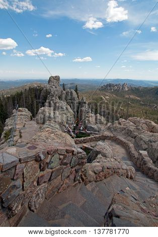 Stone staircase leading down from Harney Peak Fire Lookout Tower in the Custer State Park in the Black Hills of South Dakota USA