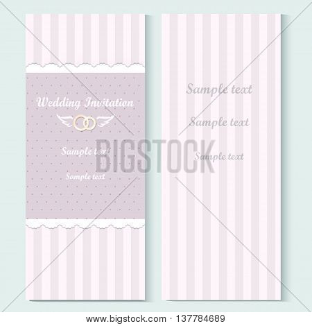 Marriage invitation card. Vector illustration. Shabby chic design. Vintage template
