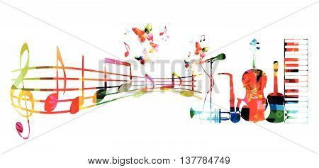 Colorful music background with music instruments and notes