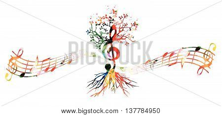 Colorful music background with G-clef tree with butterflies