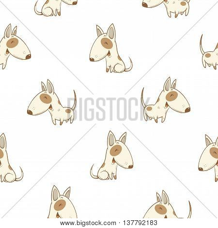 Seamless pattern with cute cartoon dogs breed  bullterrier on white  background. Little puppies. Children's illustration. Vector image. Funny animals.