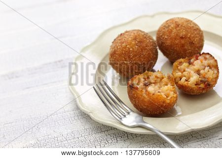 arancini di riso, fried risotto rice balls, italian sicilian food