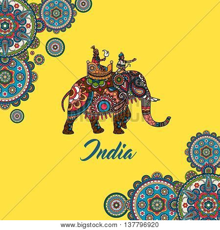 Indian maharaja sitting on elephant decorated mandala ornament. Vector illustration