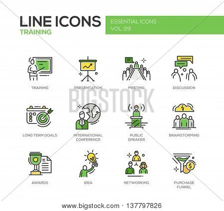 Business training - modern vector line design icons and pictograms set. Presentation, meeting, discussion, goals, conference, speaker, brainstorming, awards, idea networking purchase funnel