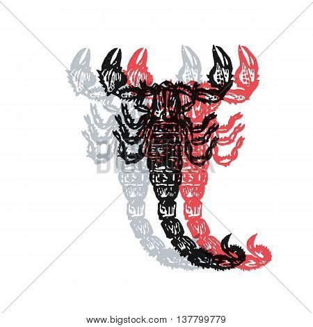 Scorpion sign. Desert scorpion. Vector engraved Illustration. Linocut scorpion Isolated on white background