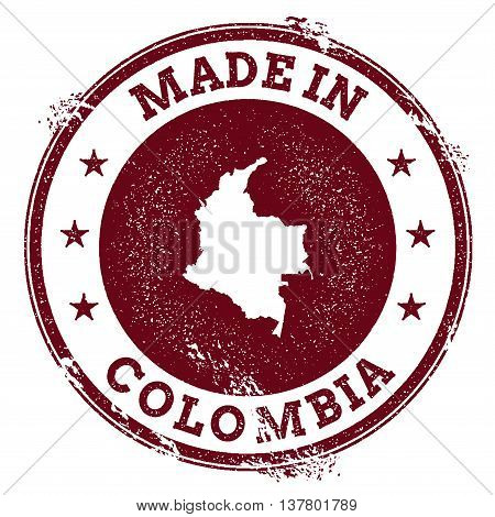 Colombia Vector Seal. Vintage Country Map Stamp. Grunge Rubber Stamp With Made In Colombia Text And