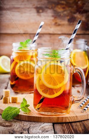 Ice Tea With Slice Of Lemon In Mason Jar