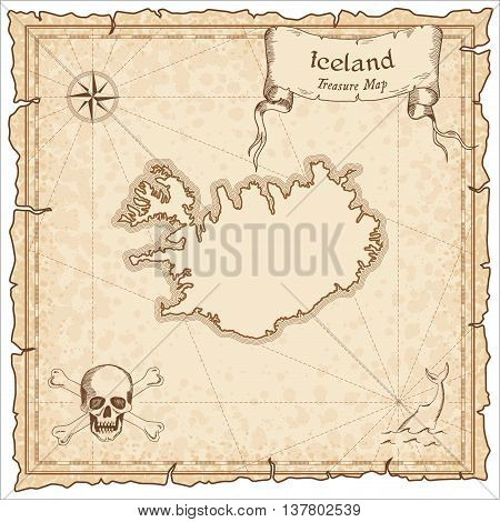Iceland Old Pirate Map. Sepia Engraved Template Of Treasure Map. Stylized Pirate Map On Vintage Pape