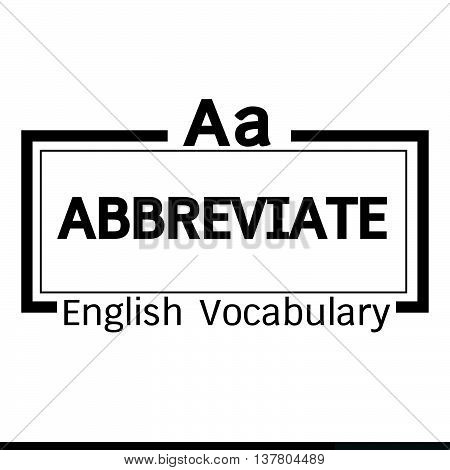 an images of ABBREVIATE english word vocabulary illustration design