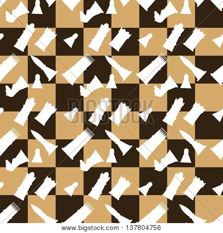 Seamless pattern chessboard and chess pieces. Game strategy and leisure vector illustration