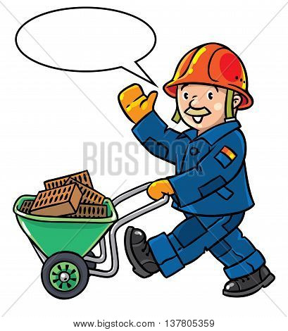 Funny construction worker or builder with cart or truck waving by hand. Profession series. Childrens vector illustration. With balloon for text