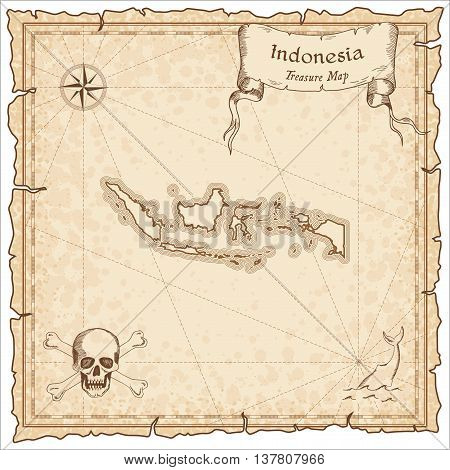 Indonesia Old Pirate Map. Sepia Engraved Template Of Treasure Map. Stylized Pirate Map On Vintage Pa