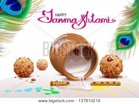 Holiday Symbols Krishna Janmashtami. Broken Pot of yoghurt, peacock feather, flute and sweets. Vector illustration